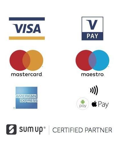 Zahlungsarten: bar, EC Karte, Apple Pay & Android Pay, Mastercard & Visa
